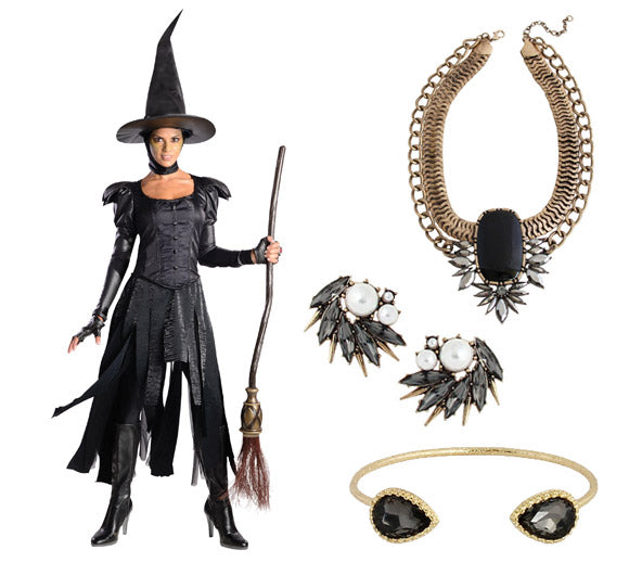 How to wear jewelry with your halloween costume: Wicked Witch