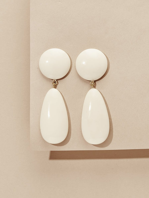 olive + piper York Resin Drop Earrings - Cream