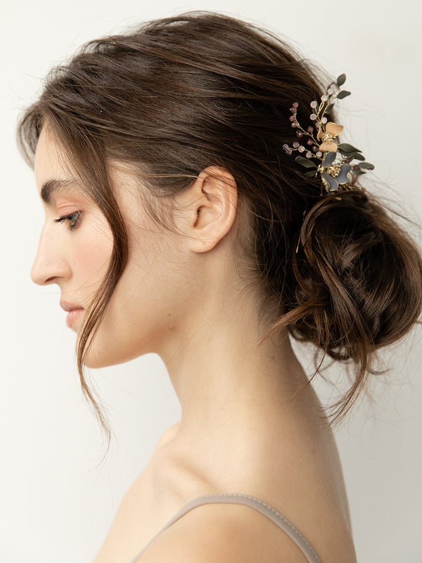 olive + piper Fayette Hand-Painted Floral Hair Pin