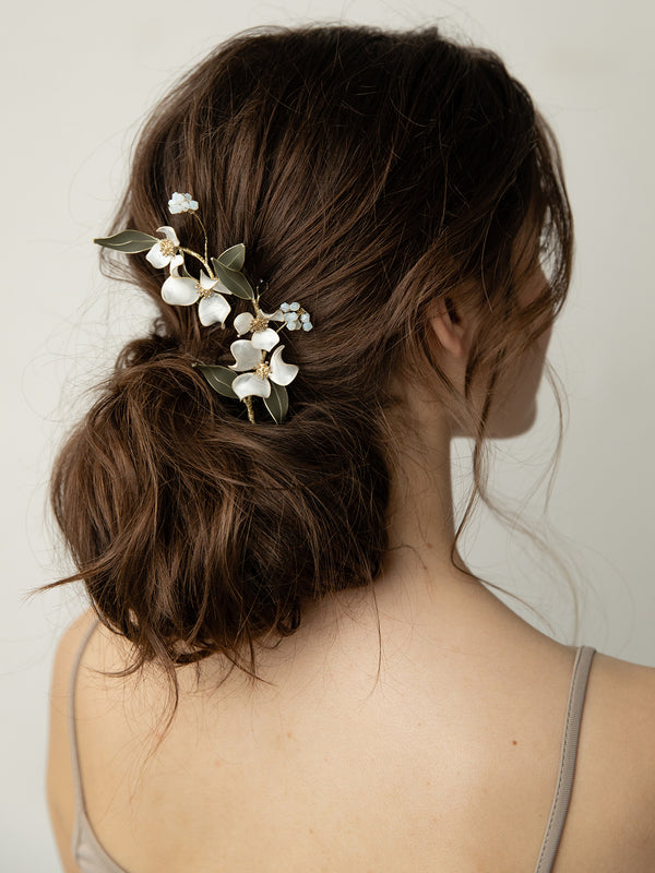 olive + piper Lorelle Hand-painted Floral Hair Pins (Set of 2)