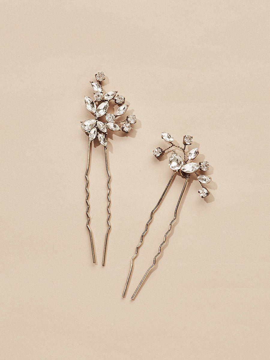 olive + piper Hudson Crystal Hair Pins (Set of 2)