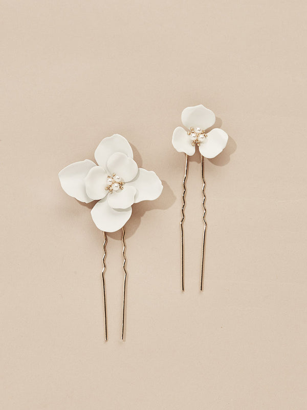 olive + piper Georgia Flower Hair Pins (Set of 2)