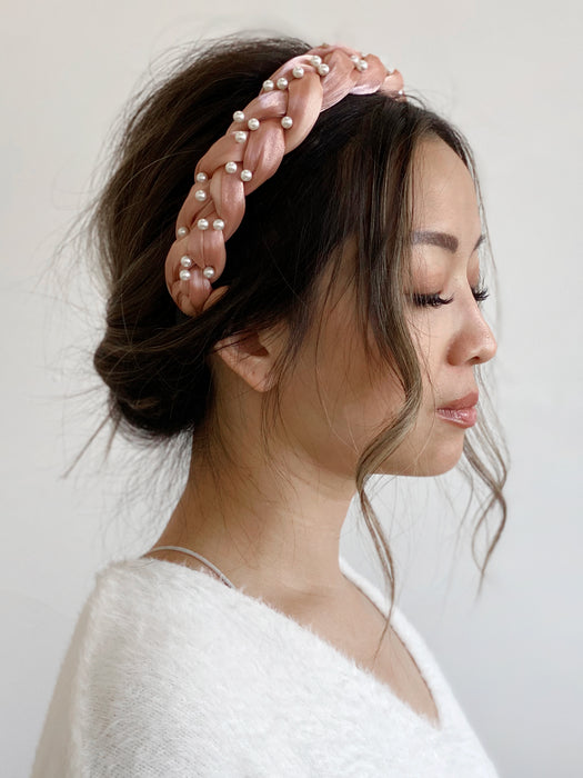 olive + piper Good Hair Day Braided Pearl Headband
