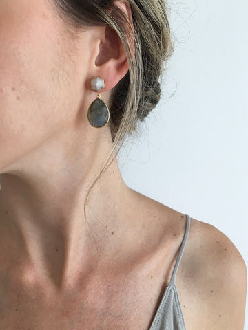 olive + piper Afterglow Semi-Precious Teardrop Earrings