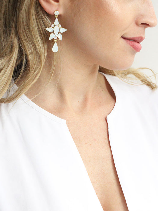 olive + piper Alessandra Statement Earrings - opal