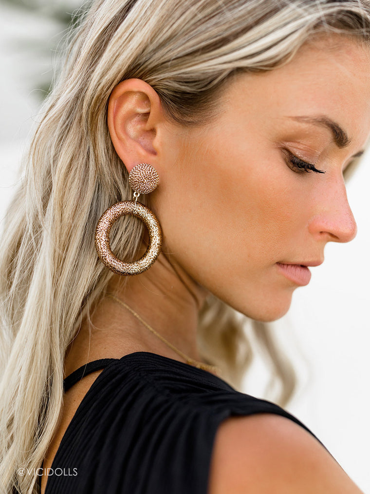 Aruba Shimmer Drop Earrings - Gold Hoop Earrings