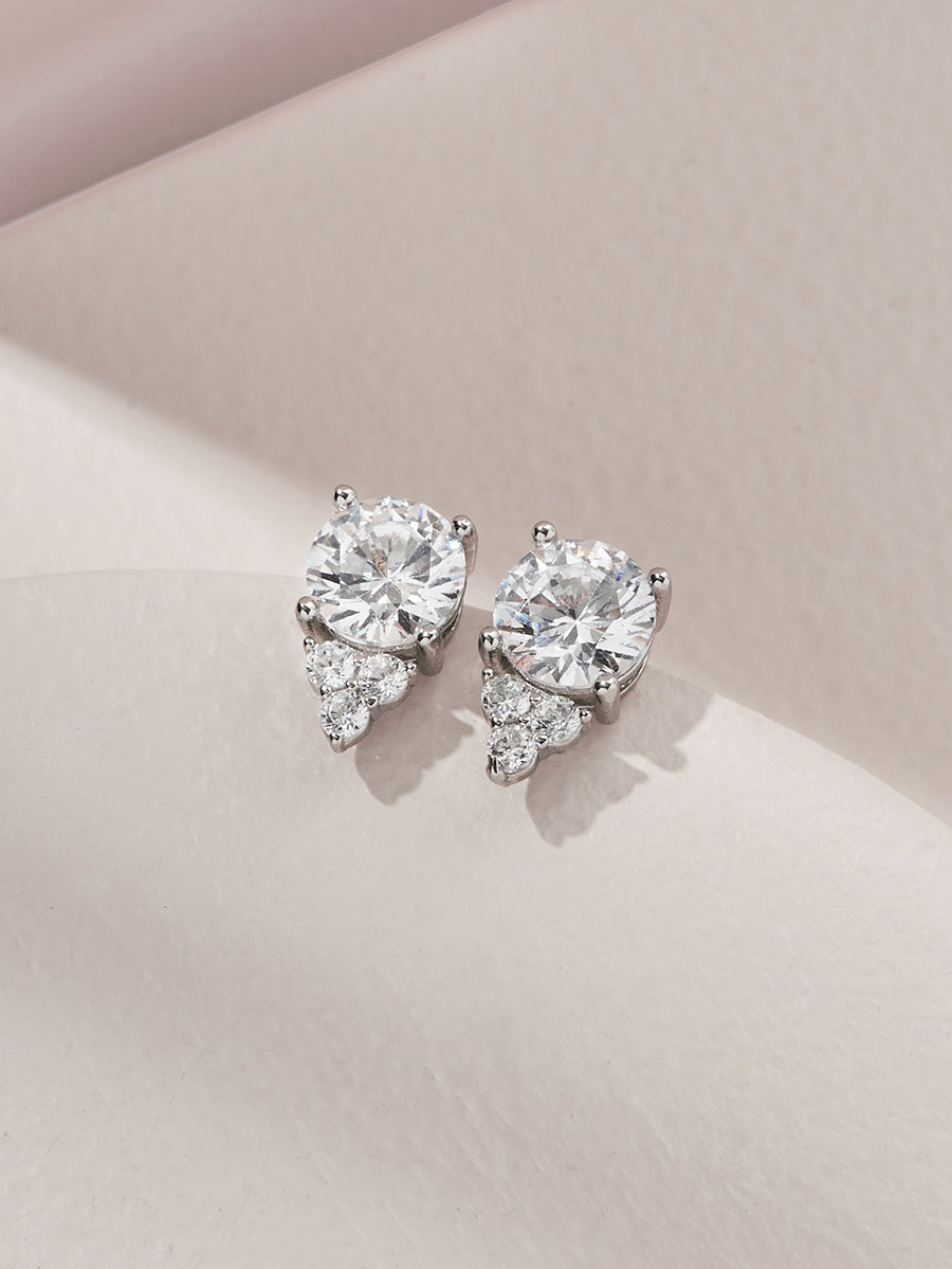olive + piper Chloe Crystal Stud Earrings Silver