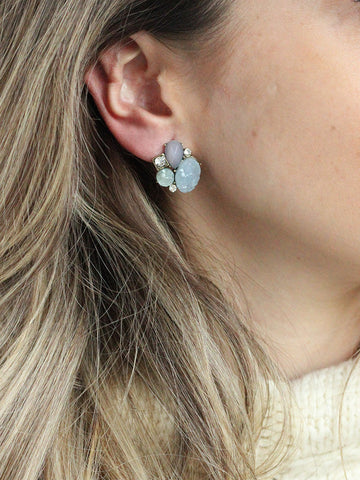 olive + piper Creme Cluster Stud Earrings
