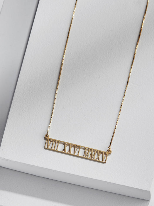 olive + piper Personalized Cut Out Roman Numeral Bar Necklace