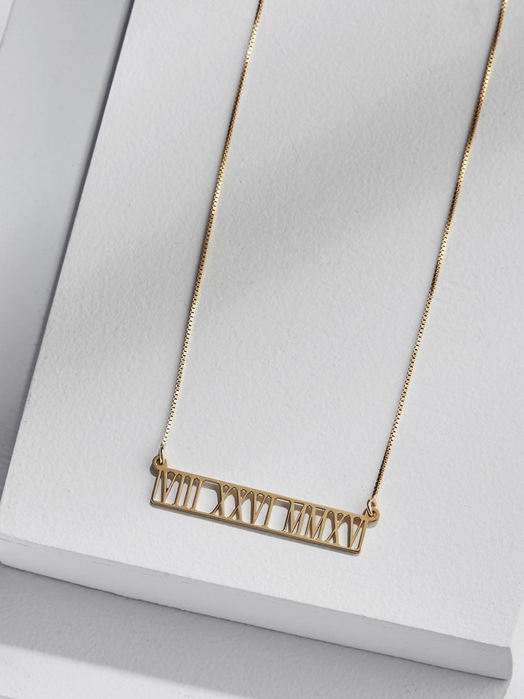 Cut Out Roman Numeral Bar Necklace