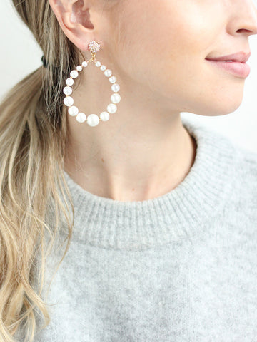 Dive For Me Pearl Hoop Earrings | olive + piper x KTR Style