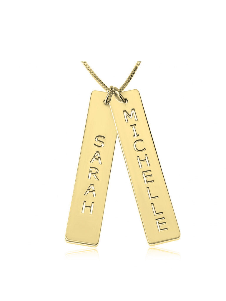 olive + piper Custom Double Vertical Bar Name Necklace - Gold