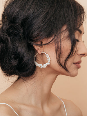 Load image into Gallery viewer, olive + piper Cruz Pearl Hoop Earrings