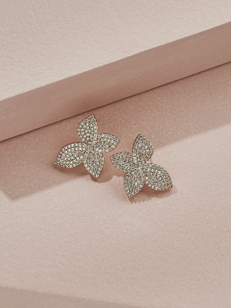 olive + piper Mini Primrosette Crystal Stud Earrings