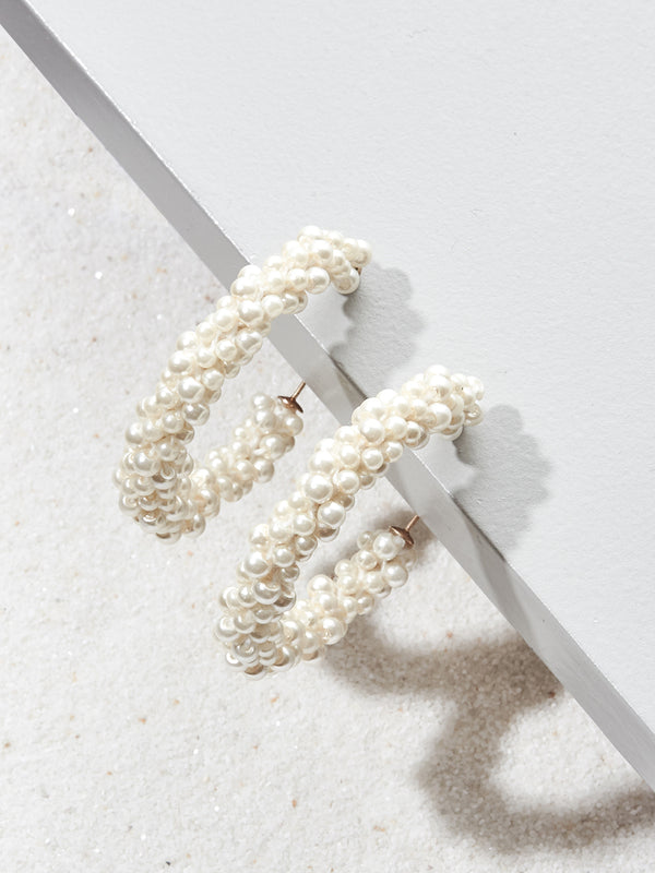 olive + piper Marina Pearl Hoop Earrings