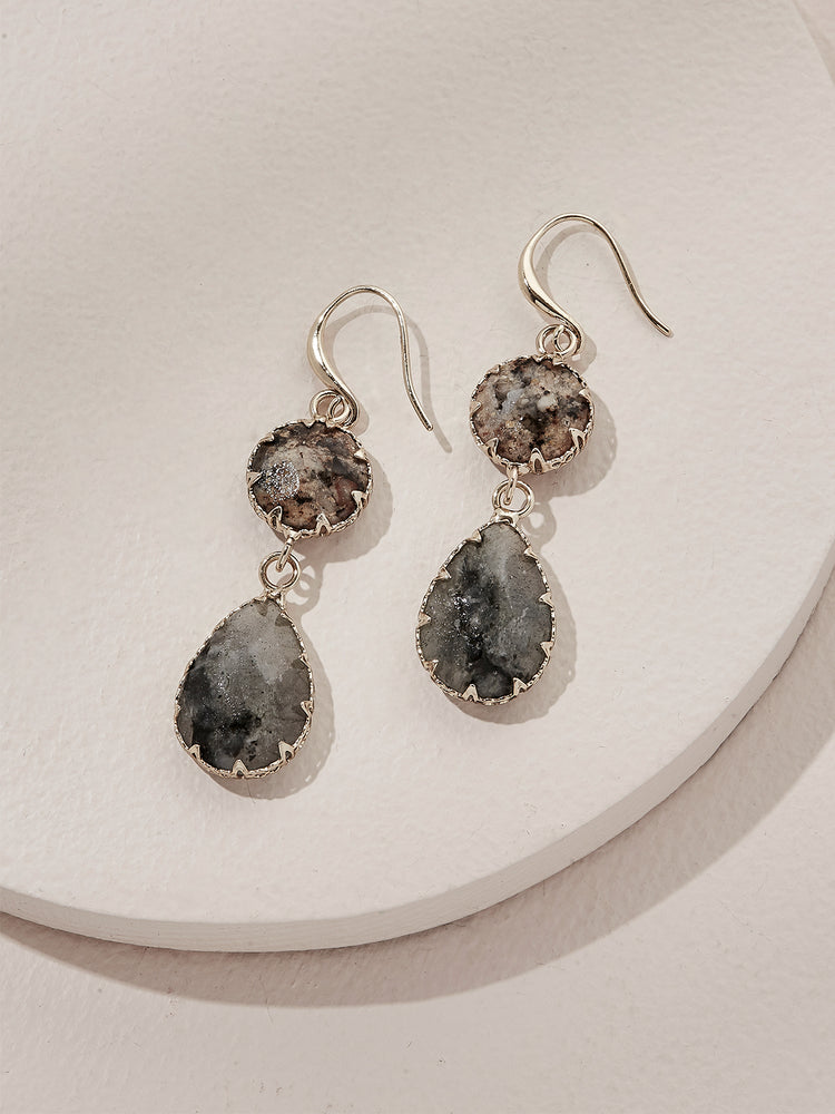 Load image into Gallery viewer, olive + piper Temple Drop Earrings - Labradorite