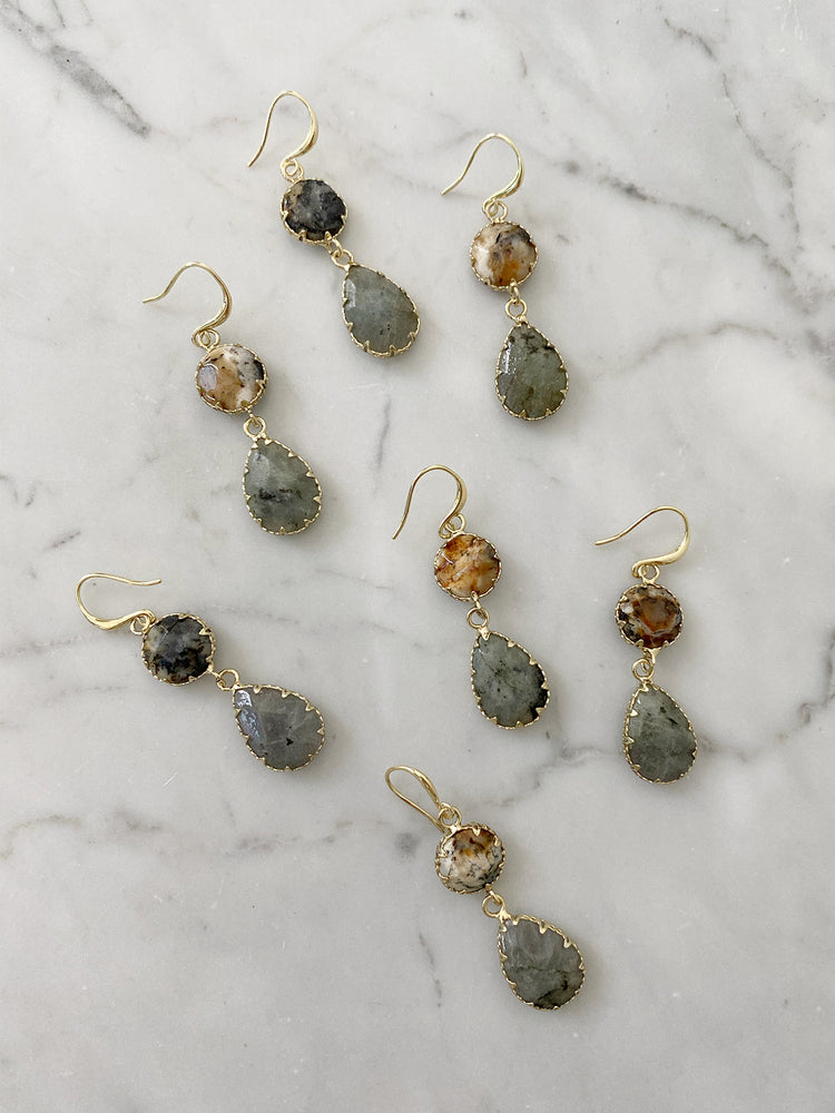 olive + piper Temple Drop Earrings - Labradorite
