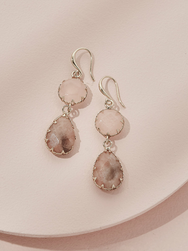 Load image into Gallery viewer, olive + piper Temple Drop Earrings - Pink Adventurine