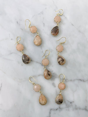 olive + piper Temple Drop Earrings - Pink Adventurine