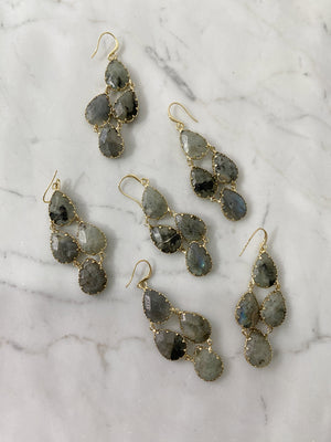 olive + piper Tove Semi-Precious Drop Earrings - Labradorite