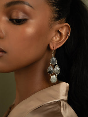 Load image into Gallery viewer, olive + piper Tove Semi-Precious Drop Earrings - Labradorite