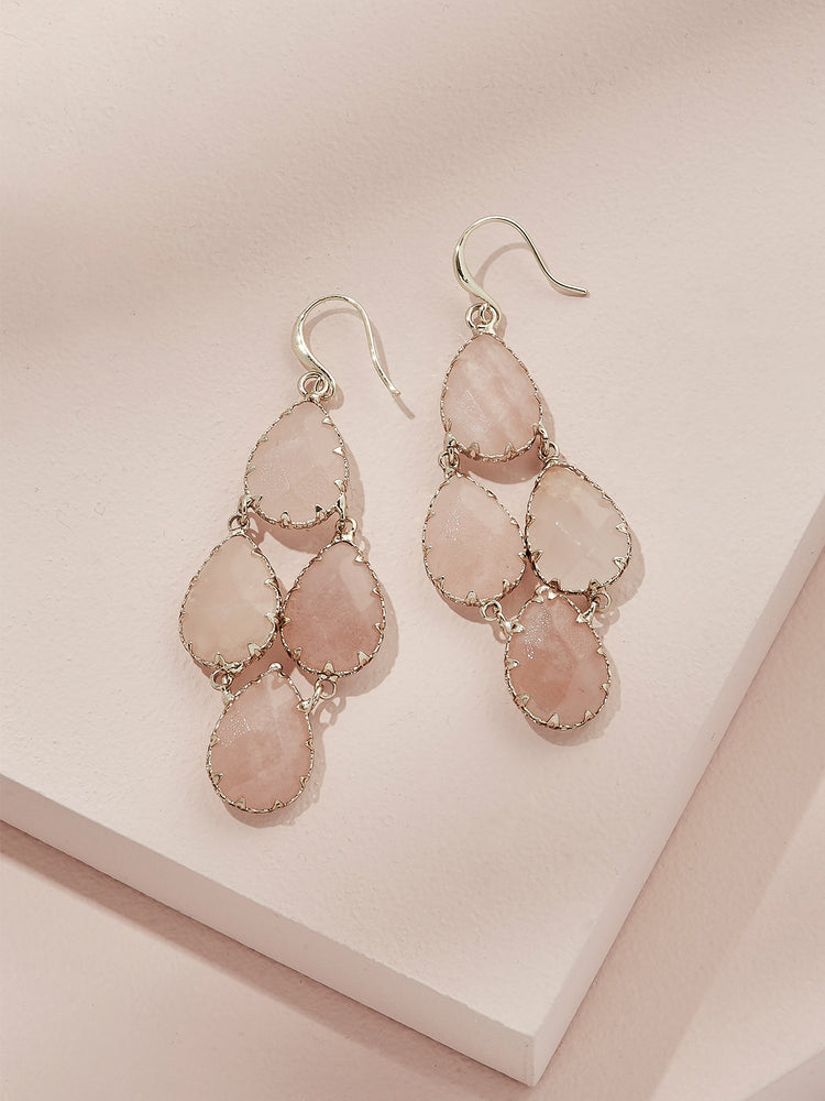 olive + piper Tove Semi-Precious Drop Earrings - Pink Adventurine