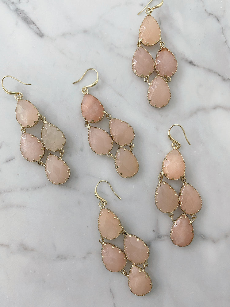 Load image into Gallery viewer, olive + piper Tove Semi-Precious Drop Earrings - Pink Adventurine