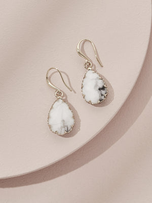 olive + piper Berlin Drop Earrings - White Howlite