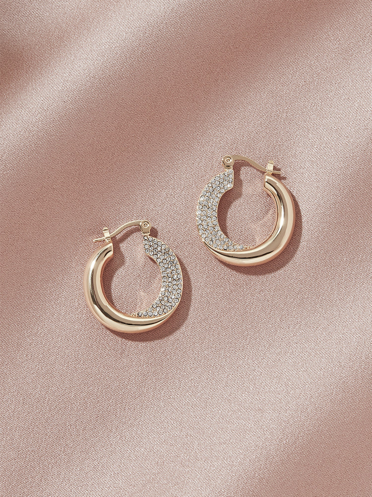 Load image into Gallery viewer, olive + piper Lennon Pave Hoop Earrings