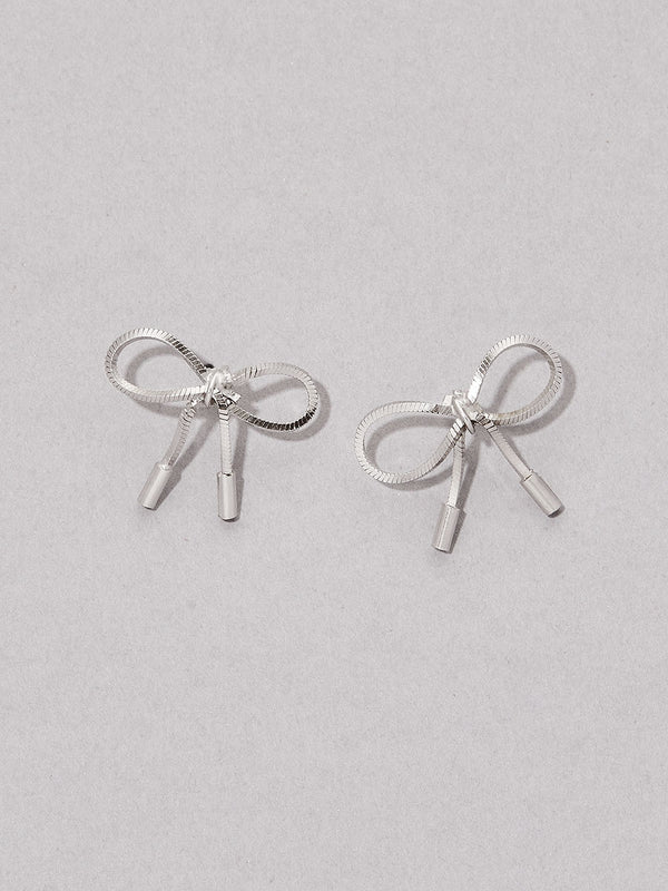 olive + piper All Wrapped Up Bow Stud Earrings - Silver