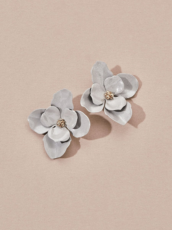 olive + piper Selva Stud Earrings - Shimmer Silver