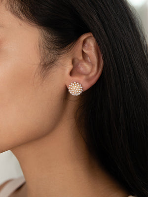 Load image into Gallery viewer, olive + piper Pearl Pave Stud Earrings