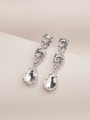 Load image into Gallery viewer, olive + piper Eleanor Statement Drop Earrings silver