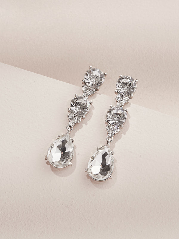 olive + piper Eleanor Statement Drop Earrings silver