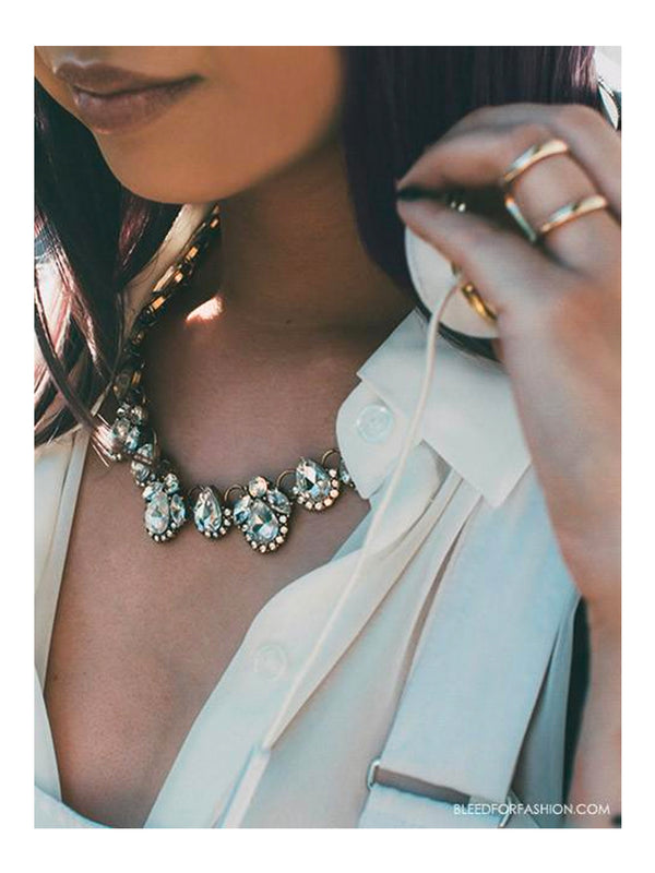 olive + piper Flora Crystal Statement Necklace
