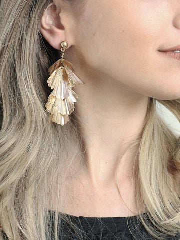 olive + piper Gold Leaf Statement Earring