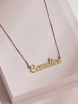 olive + piper Handwritten Script Customized Name Plate Necklace