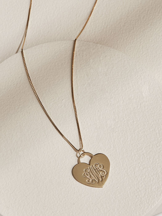 olive + piper Custom Engraved Monogram Heart Pendant Necklace - Gold