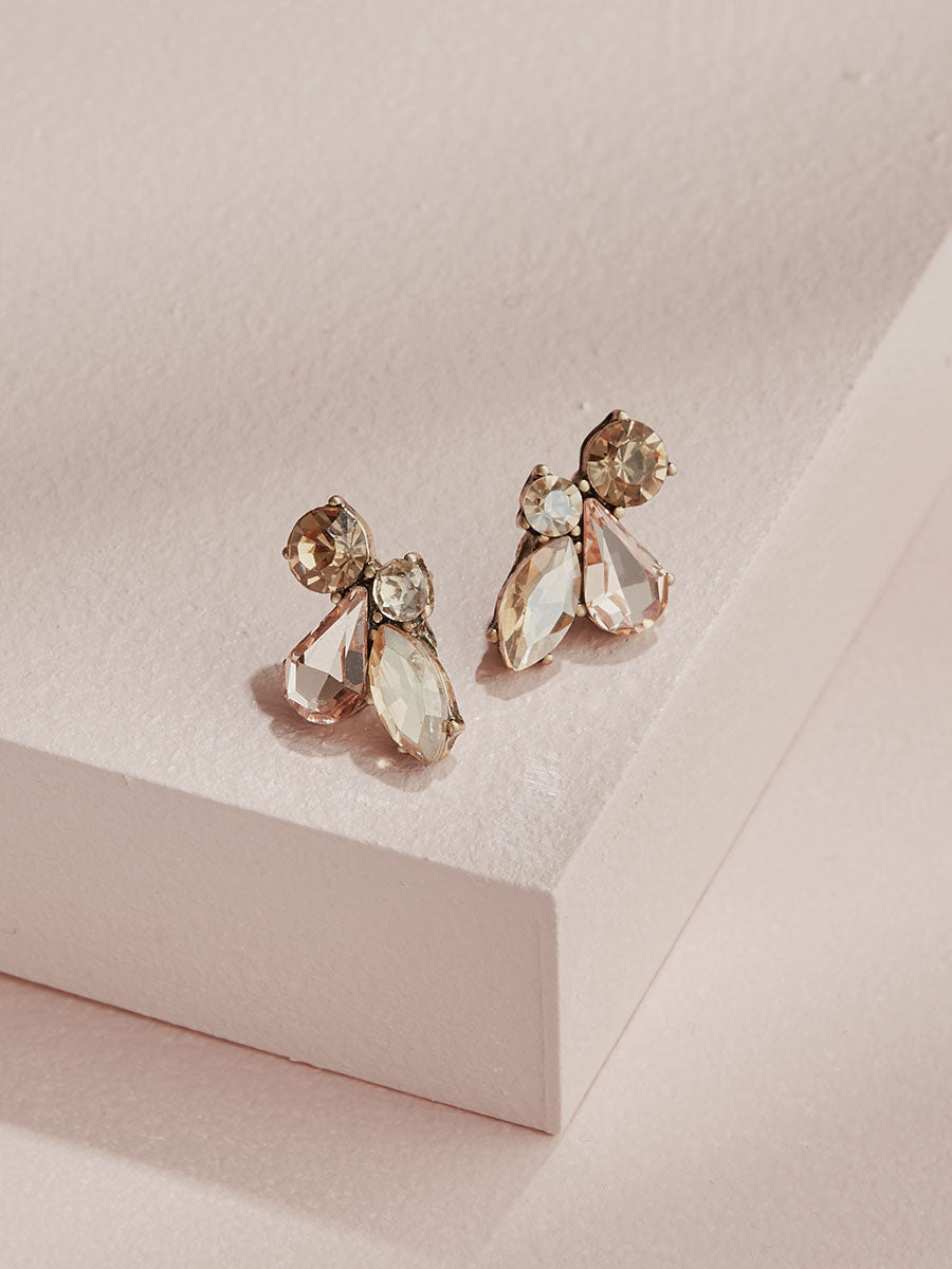 olive + piper Leah Stud Earrings - Champagne