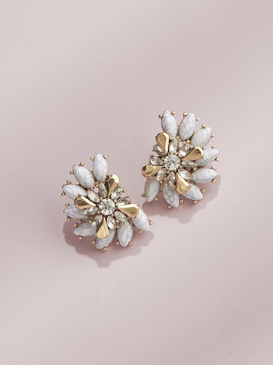 olive + piper Luxe Cluster Studs - Marble + Gold