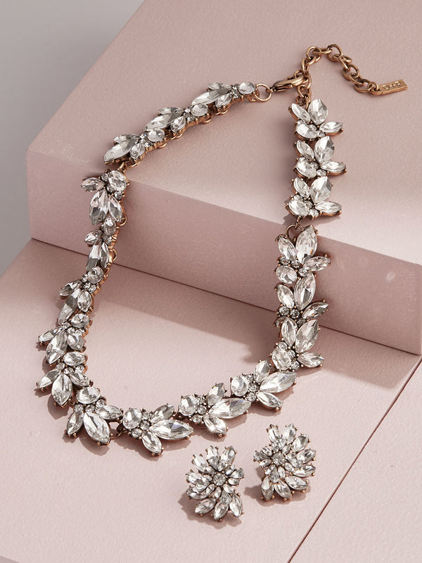 O+P Luxe Crystal Set: Stud Earrings + Collar necklace