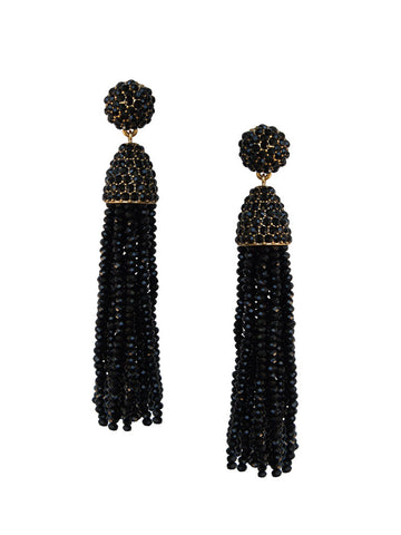 olive + piper Margo Beaded Tassel Earrings - Black