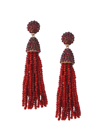 olive + piper Margo Beaded Tassel Earrings - Red