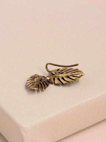 olive + piper Mini Pave Palm Leaf Stud Earrings