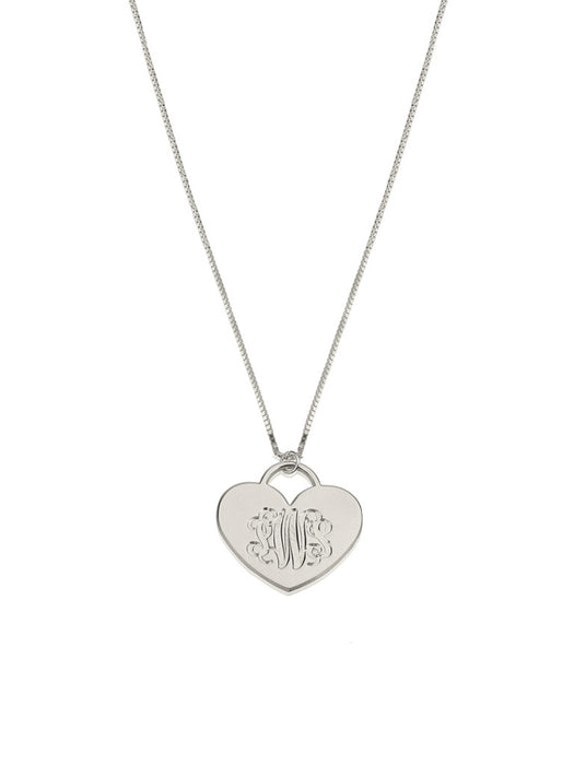 olive + piper Custom Engraved Monogram Heart Pendant Necklace - Sterling Silver