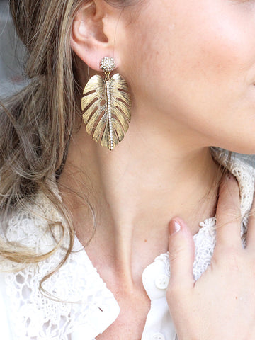 olive + piper Monstera Palm Leaf Drop Earrings