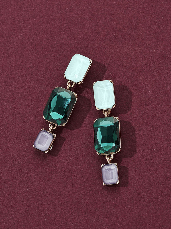 olive + piper Constance Drop Earrings - Emerald