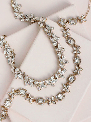 olive + piper Parisian Crystal Collar Necklace Duo (Set of 2)