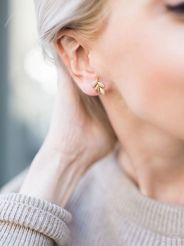 olive + piper Pave Olive Stud Earrings