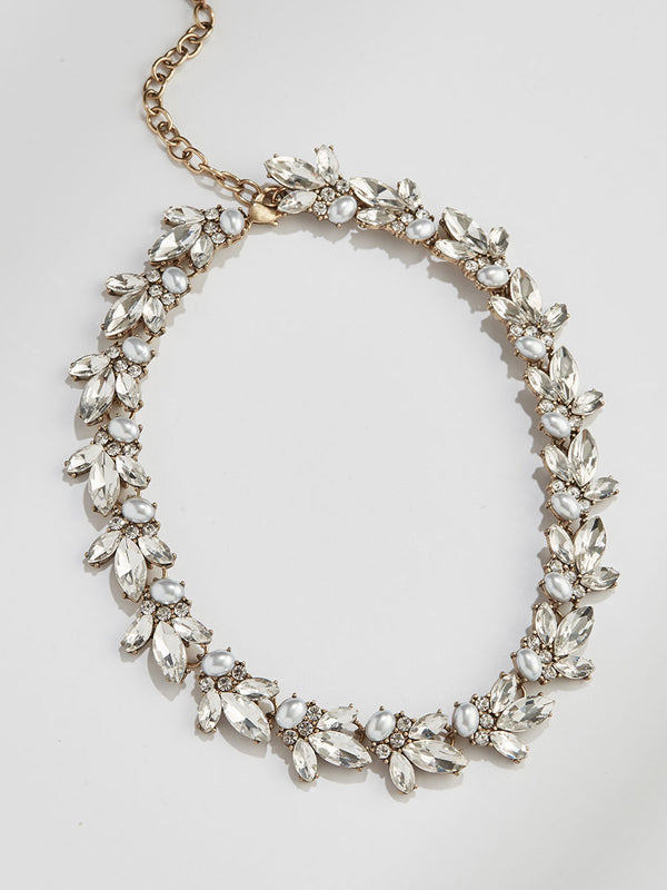 olive + piper Limited Edition Lucy Crystal Collar - Pearl